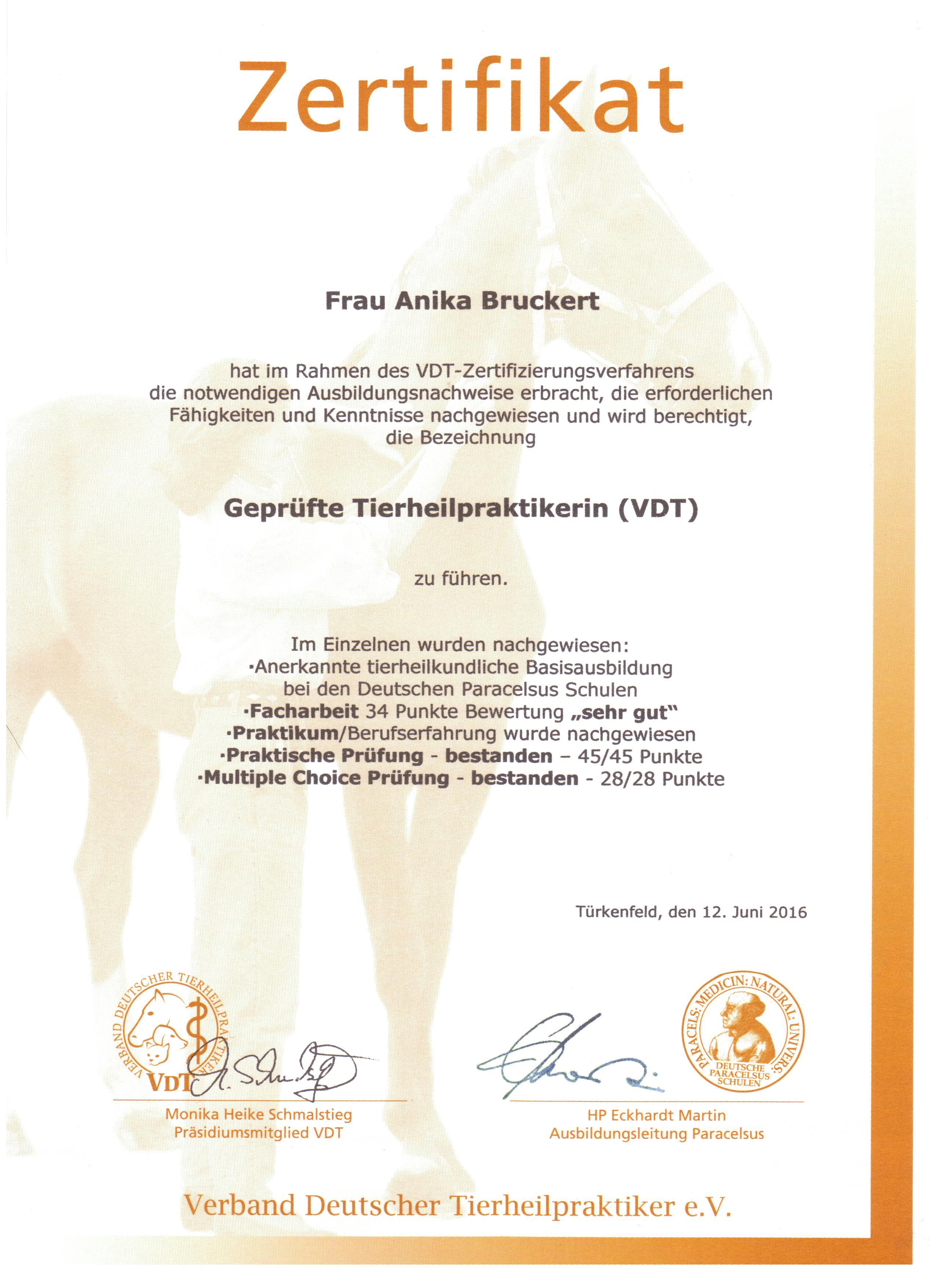 VDT-Zertifikat